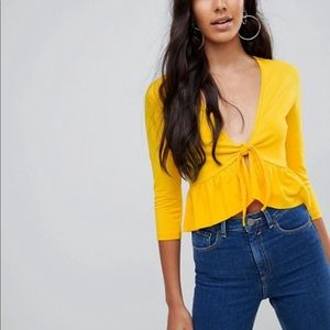 ASOS Top with Knot Front Ruffle